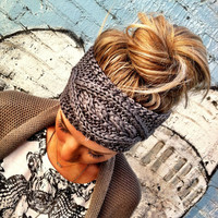 Gray Cable Knitted Headband Ear Warmer Grey by ThreeBirdNest