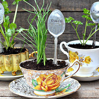 DIY Stamped Spoon Plant Markers | Intimate Weddings - Small Wedding Blog - DIY Wedding Ideas for Small and Intimate Weddings - Real Small Weddings