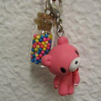 Pink Gloomy Bear and Rainbow Necklace