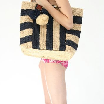 Striped Carryall Tote $130. At Beklina