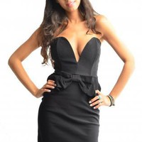 Black Plunge Neckline Bow Front Peplum Dress