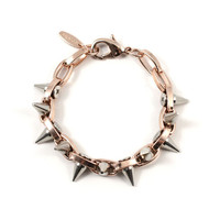 Metal-Luxe Double Row Spike Bracelet - Rose Gold/Silver Spikes