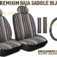 Baja Inca Saddle Blanket Front Seat Cover Pair - Complete w/ Steering Wheel Cover & Seat Belt Pads