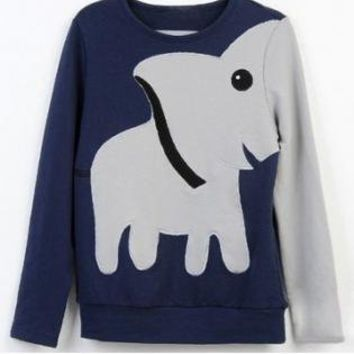 A071023 Fun elephant pattern long-sleeved pullover sweater leisure