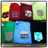 MEDIUM Custom crew cut sweatshirts with pocket- NEW FABRICS