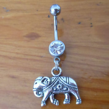 Belly Button Ring  Elephant with Clear Gem by ChelseaJewels