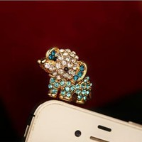 Cute Rhinestone Baby Elephant Plugy for iPhone CXD324