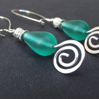 Green Sea Glass Earrings:  Hammered Silver Swirl Emerald Beach Wedding Jewelry, Pierced Teardrop Dangle Earrings