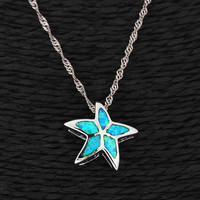 Lovely Starfish Zircon Pendant Necklace at Online Jewelry Store Gofavor