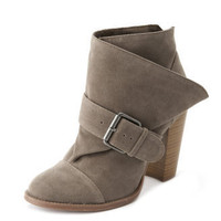 Charlotte Russe - Stacked-Heel Sueded Bootie