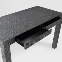 Parsons Desk - Diamond Grass Cloth