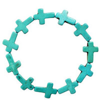 Turquoise Cross Stretch Fashion Bracelet