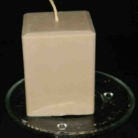 Strong Amaretto Scented Square Pillar Candle Tan - Light Brown Color