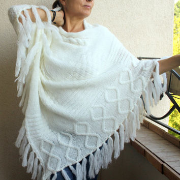 Ecru Plus Size Poncho Shawl Cable Diamond Knit