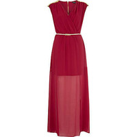 Dark red chiffon studded wrap maxi dress - maxi dresses - dresses - women