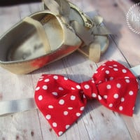 Children's Red and White Polka Dot Headband - Stretchy, Minnie Mouse, Newborn, Photo Props, Baby Headband, Elastic