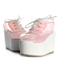 transparent open toes platform shoes 4 colors