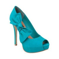 PROMMISE TURQUIOSE NUBUCK women's dress high peep toe - Steve Madden
