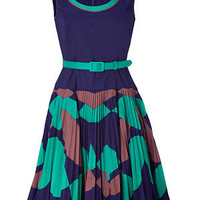 STYLEBOP.com | Jade and Navy Pleated Swing Dress by MILLY | the latest trends from the capitals of the world