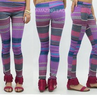 Purple Tribal Aztec Hippie Chic Comfy Stretch Leggings Pants USA Made Fashion