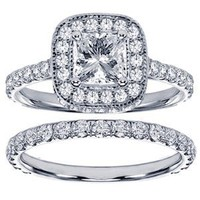 2.42 CT TW Pave Set Diamond Encrusted Princess Cut Engagement Ring Bridal Set in 14k White Gold - Size 11.5