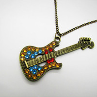 ancient vintage style guitar pendant women or girl by braceletcool