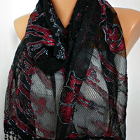 Black Lace  Scarf - Shawl  Scarf - Cowl Scarf  with Lace Edge -  Red Roses