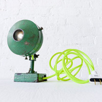Antique Industrial Green Spotlight Lamp w/ Neon by EarthSeaWarrior