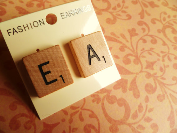 Vintage scrabble stud earrings  made from maple by BowsJewellery