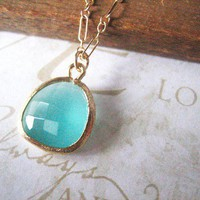ANABELLE milky turquoise rough cut crystal necklace by brideblu