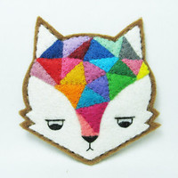 Annoyed urban fox felt pin  Made to order by hanaletters on Etsy