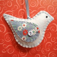 Retro Baby Blue Bird Handstitched Felt Ornament by misseskwittys