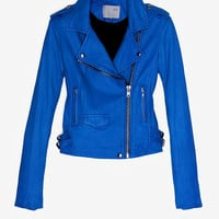 IRO EXCLUSIVE Ashville Leather Jacket: Blue-IRO-Designers-Categories- IntermixOnline.com