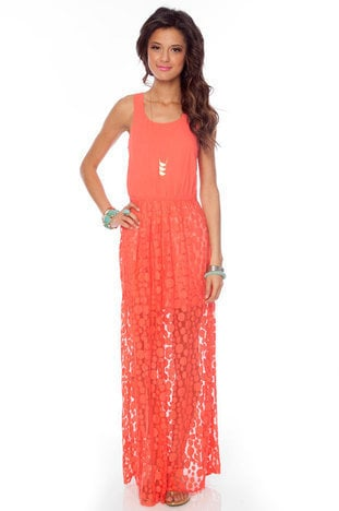 In Plain Sight Maxi Dress in Coral :: tobi