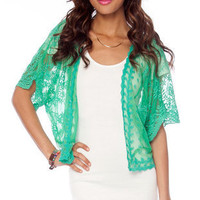 Embroidered Mesh Open Cardigan in Green :: tobi