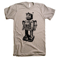 Mens Vintage Robot T Shirt - American Apparel Tshirt - XS S M L XL and XXL (28 Color Options)