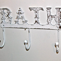 "White ""BATH"" Wall Hook by AquaXpressions"