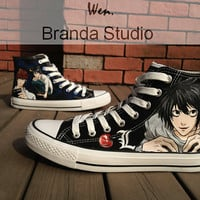 Anime ShoesDeath NoteStudio Hand Painted by Brandastudio on Etsy