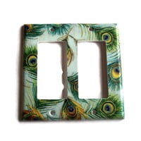 Peacock Feathers Double Rocker /GFI Switchplate, switch plate wall decor