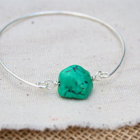 Turquoise Stone Bangle in SIlver Plated, Statement Bangle