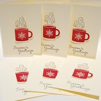 Warmest Season's Greetings Red Mug Of Hot Drink 6 Handcrafted Cards