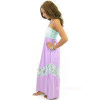Calhoun Lake Lace Top Lavender Maxi Dress