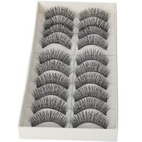 LTop eyelash 10 Pairs Black Long Thick Soft Reusable False Eyelashes Fake Eye Lash for Makeup Cosmetic
