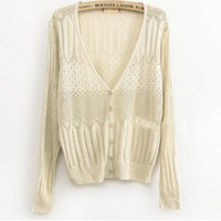 A 072912 Sweet hollow thin knit cardigan