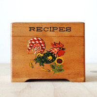 Vintage Rooster Recipe Box Wooden Box 1940s 1950s Retro Kitchen Kitsch
