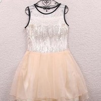 Organza sequins dress - apricot