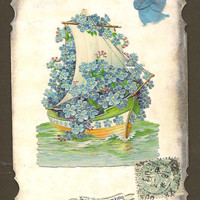 Forget-me-Not Covered Sailboat on Romantic Vintage French Postcard