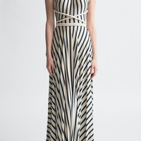 Nadia Tarr Little French Stripe Rope Halter Gown