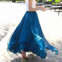 Peacock blue Chiffon skirt Maxi Skirt Long by originalstyleshop