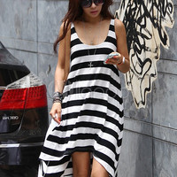 Casual Black Cotton Stripe Scoop Neck Sleeveless Shift Dress  -  milanoo.com